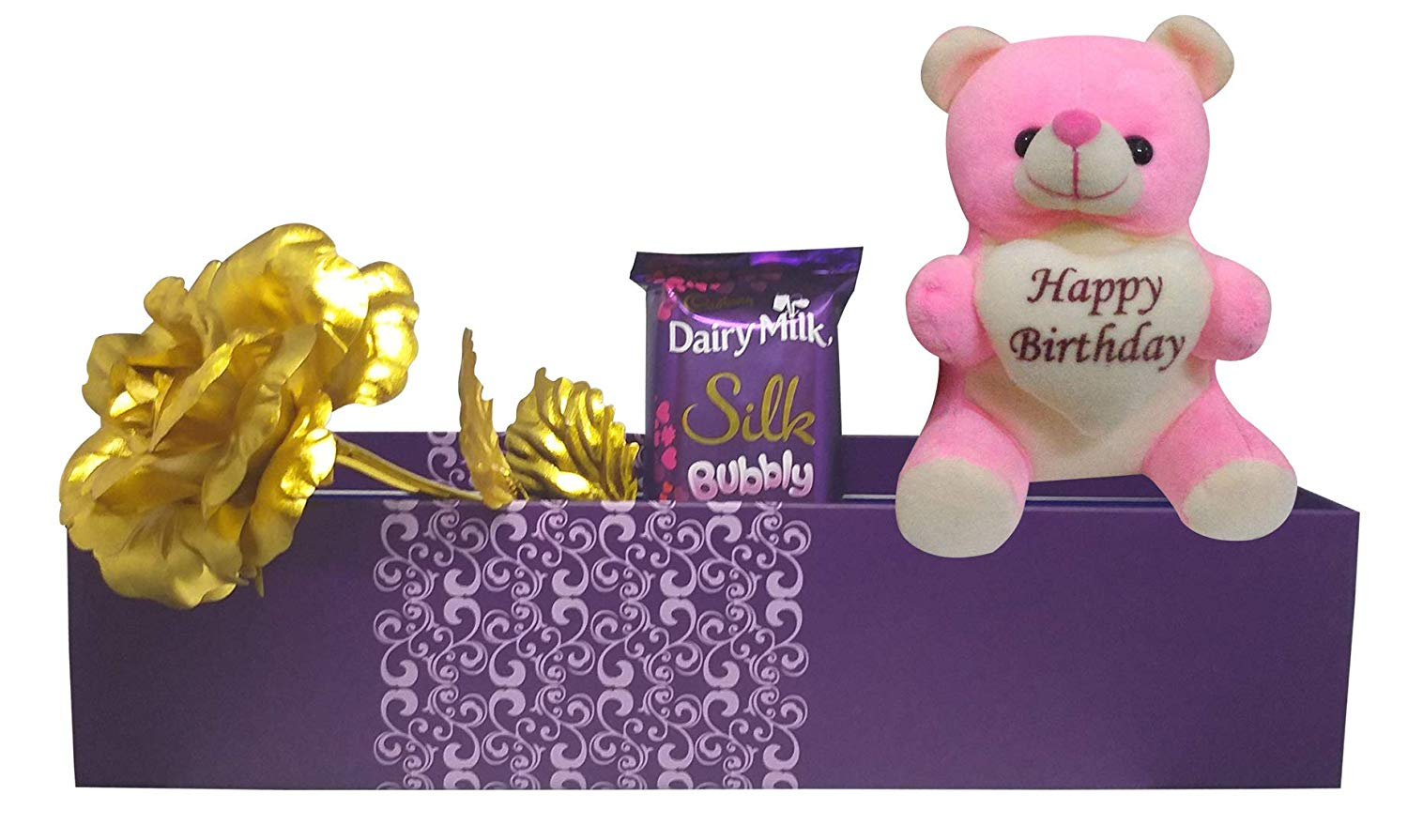 Birthday Gift For Girlfriend Or Wife Happy Teddy Artificial Golden Rose Chocolate