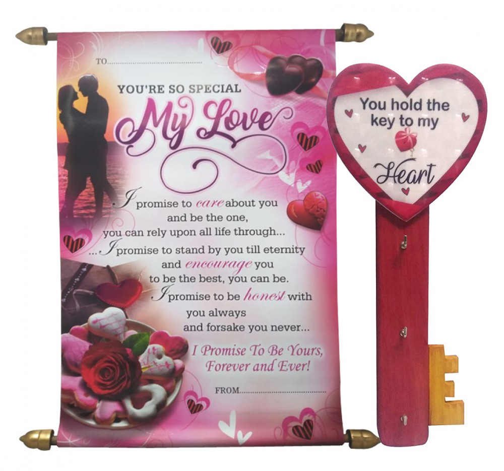 Valentine Love Gift For Her Love Message Scroll Card Key Holder