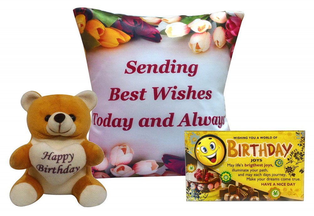 Birthday Gift Combo Cushion Cover Filler Quotation Soft Toy